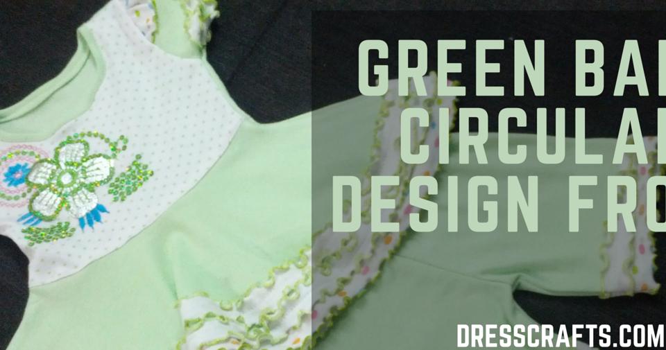 GREEN BABY CIRCULAR DESIGN FROCK