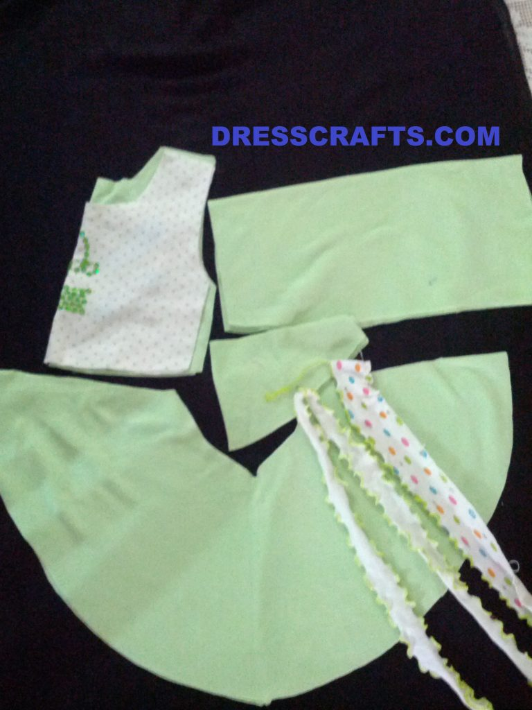 Parts of circle frock with skirt width