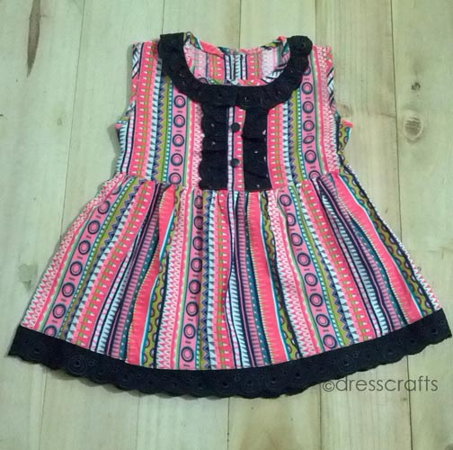 Simple Baby Dress with Black Eyelet Lace