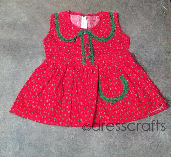 SIMPLE BABY DRESS WITH EYELET FLAT COLLAR
