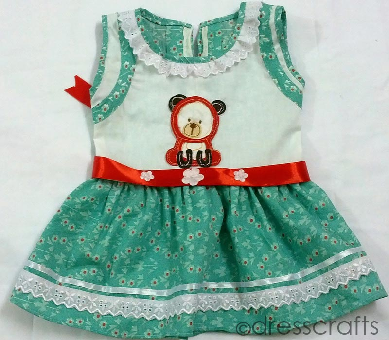 SIMPLE BABY DRESS WITH RIBBON WORK