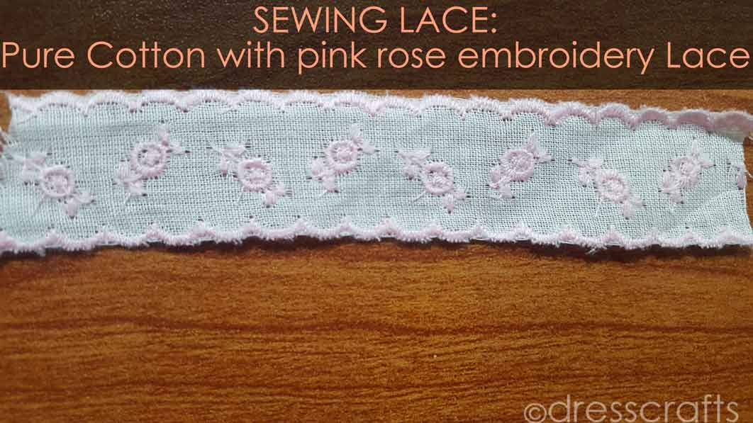 Pure Cotton with pink rose embed