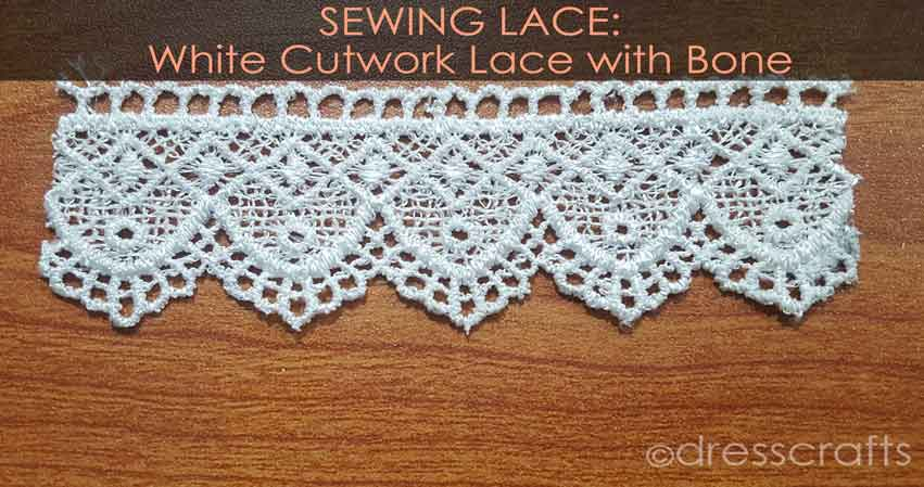 White Cutwork lace with bone