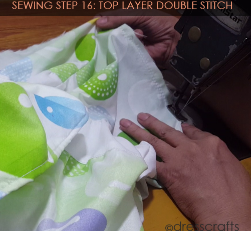 SEWING STEPS 16 - sewing skirt - top layer double stitch