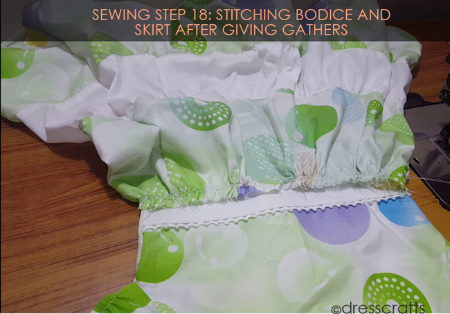 SEWING STEPS 18 - Stitching bodice and skirt after giving gathers