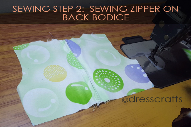 SEWING STEPS 2 - Sewing ZIPPER on back bodice
