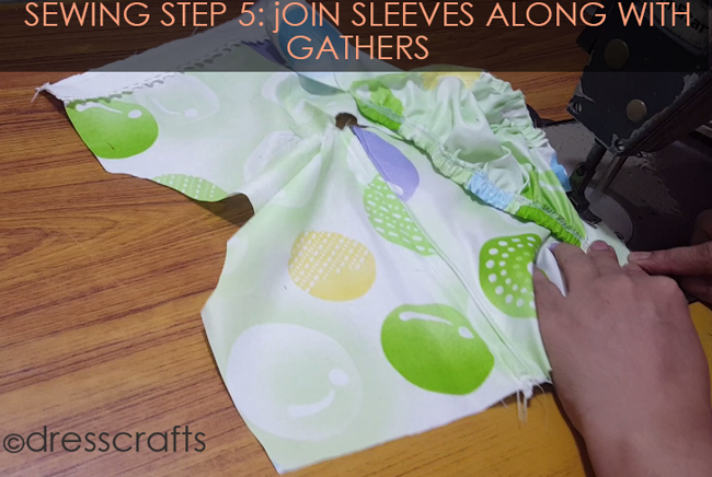 SEWING STEPS 5 - Sewing sleeves with having gathers