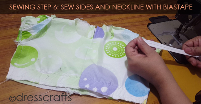 SEWING STEPS 6 - sewing neckline with biastape and sew sides