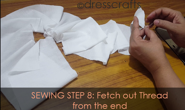 SEWING STEPS 8 - sewing skirt - Fetch out thread from the end