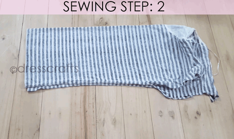 Convert Tshirt into Top - Sewing Step 2