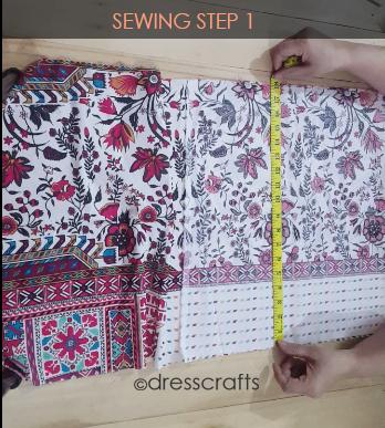 Paper bag dress sewing step 1