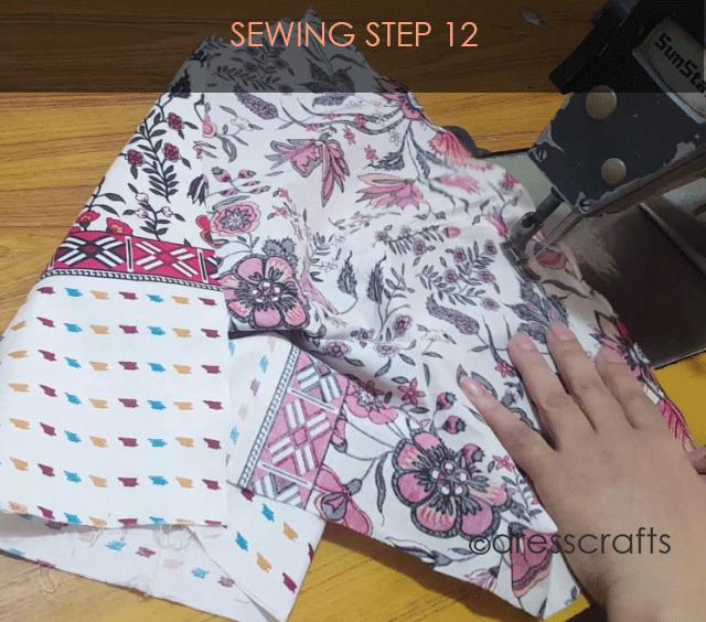 paper bag dress sewing step 12