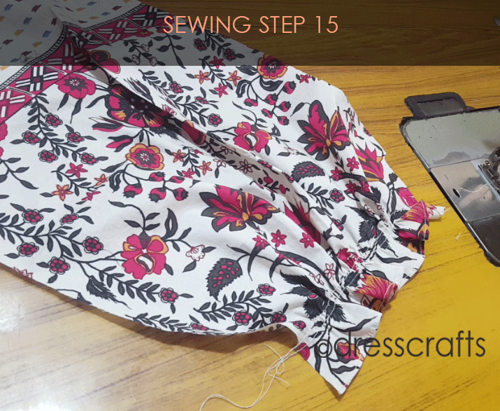paper bag dress sewing step 15