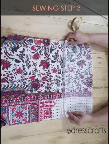 paper bag dress sewing step 3