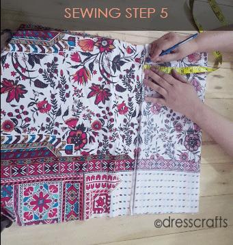 paper bag dress sewing step 5